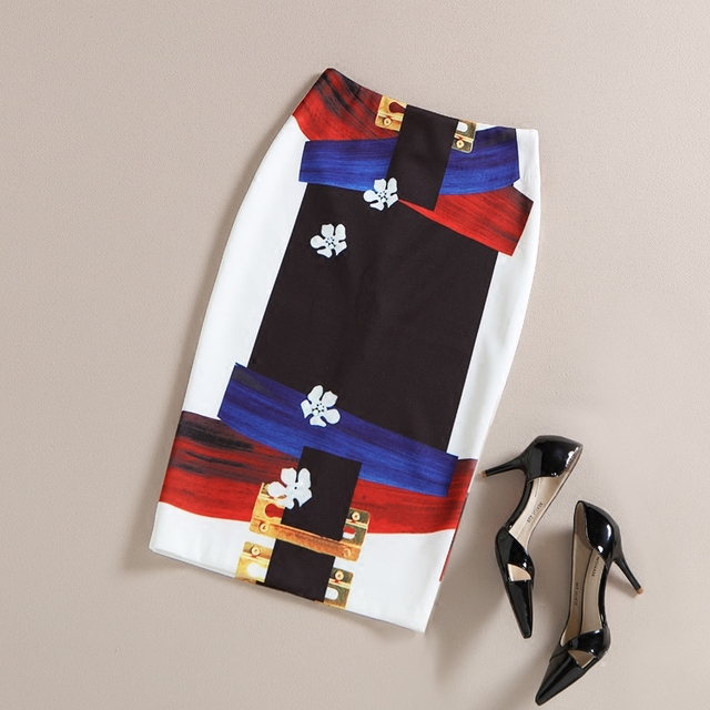 Verano coreano Paquete Delgado de La Cadera Falda Falda Nueva Falda de Las Mujeres Elásticos de La Vendimia Impreso Señoras Oficina Falda Lápiz Faldas QW-98