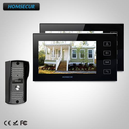 HOMSECUR Touch Button Wired Door Phone Doorbell 7Lcd Video Home Intercom With Ir Camera TC031 Camera+TM704-B Monitor