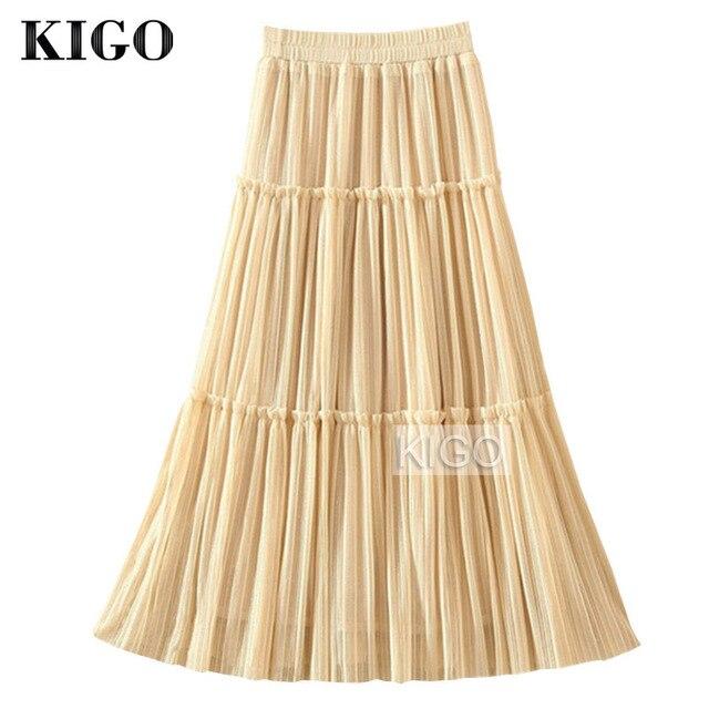 661af1044bd7a1 € 15.38 30% de réduction|KIGO femmes taille haute Jupe plissée Tulle maille  Jupe taille élastique décontracté femmes jupes Beige Tutu Jupe ...