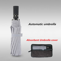 Hot selling Automatic umbrella men Business umbrella with Absorbent cover Storage bag gift Customize logo solid color umbrella
