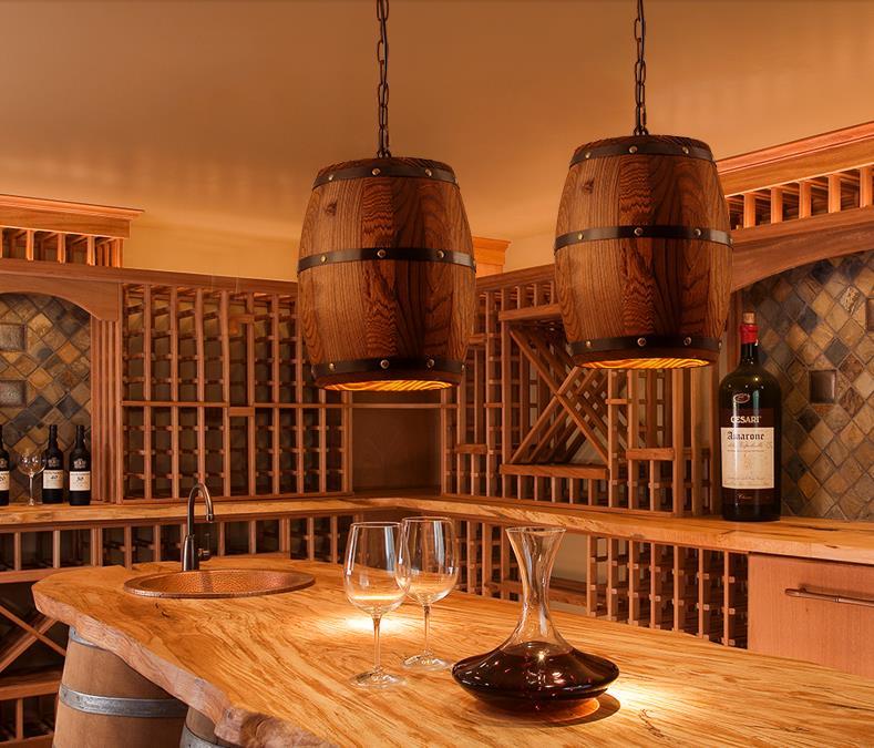 Solid Wooden country style retro theme restaurant bar barrel barrel chandelier chandelier LOFT creative wood lamp  недорого