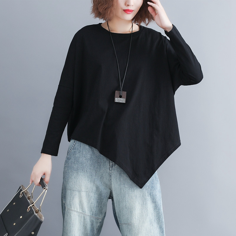 Batwing Sleeve T-shirt Women Casual Plus Size Asymmetrical Tops Long Sleeve Oversize Tees Black MMHH737 10