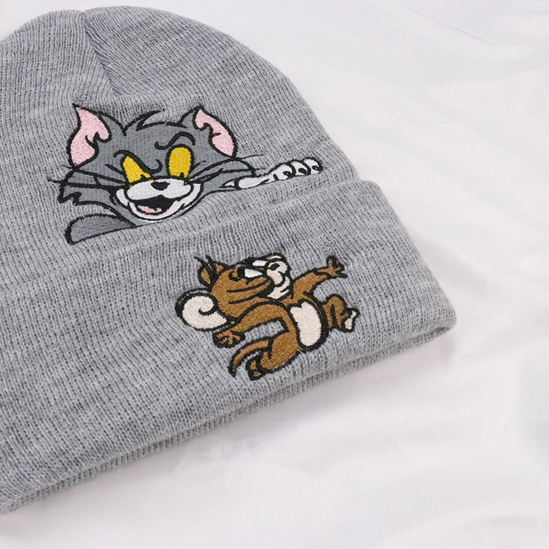 3c12f25460c Men women winter cpas kanye west hip hop streetwear Tom and Jerry thick  casual warm cartoon cotton boys cap hat kullies Beanies-in Skullies    Beanies from ...