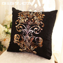 Pillow Case Velvet fabric geometric Pattern Pillowcase Hot stamping Printed 45x45cm black Euro Covers Free Shipping
