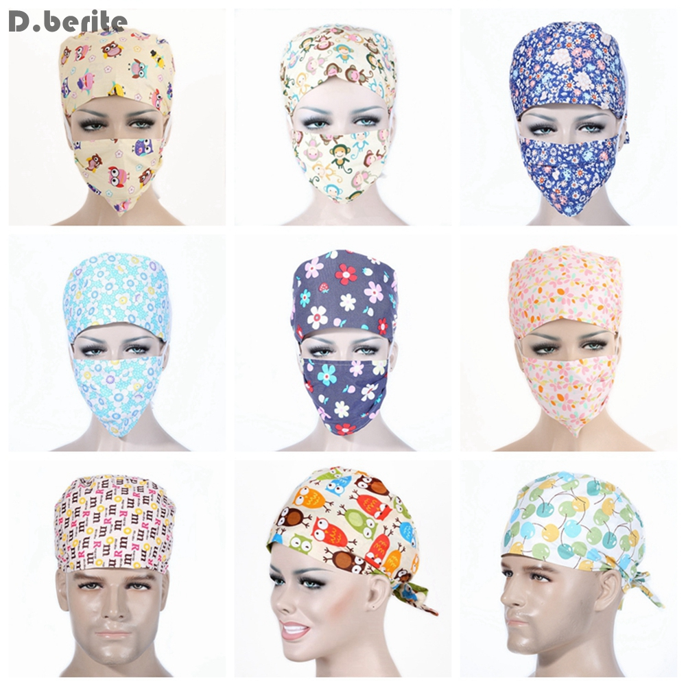 Unisex Medical Beauty Cap Women Men Doctor Nurses Printing Scrub Cap Mask Medical Surgical Surgery Hat DAJ9156-15