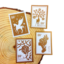 150 Pcs/lot New Stamp Sticker DIY Girl And Deer Styling Seal Gold Color Sealing Label