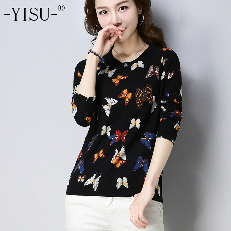 YISU Autumn Print Sweaters Women 2018 Winter Butterfly Print Long Sleeves Sweater Casual Pullovers Soft Warm Knitted Sweaters