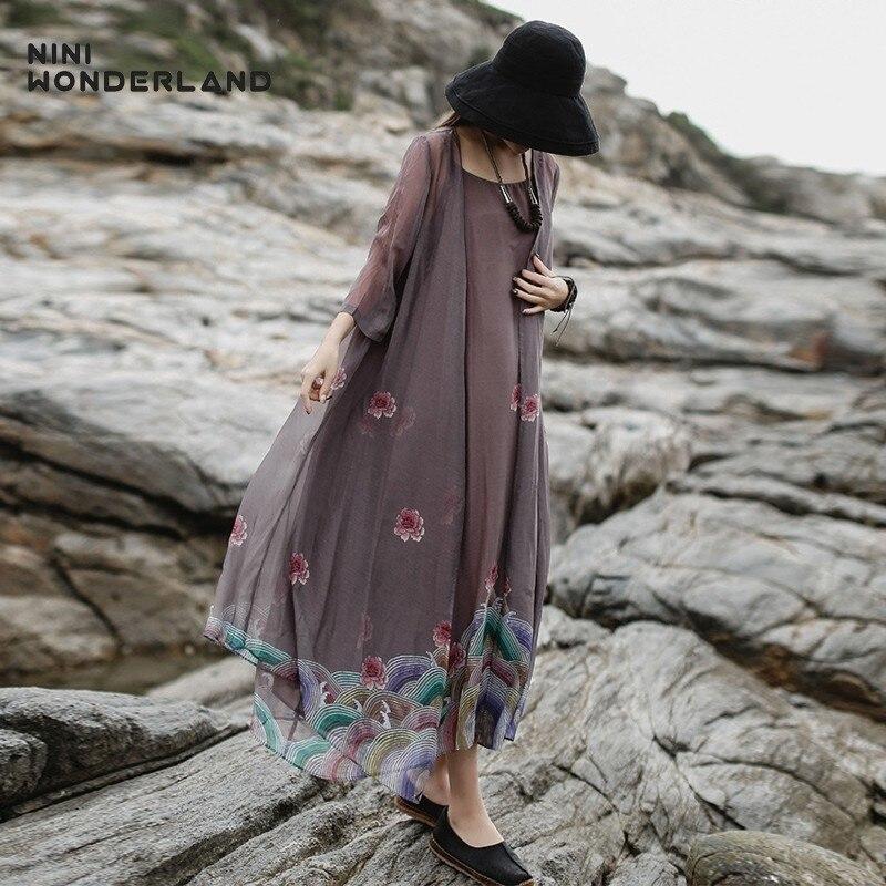 NINI WONDERLAND Women Thin Print Trench Coats 2019 Summer Sunscreen Cardigan Coat Female Fashion Print Chiffion Long Outwear
