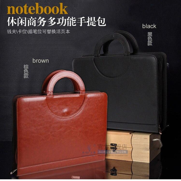 High-quality Zipper Business A4 Leather File Folder Manager Bag Briefcase Portfolio With Handle Calculator Spring Binder  442C