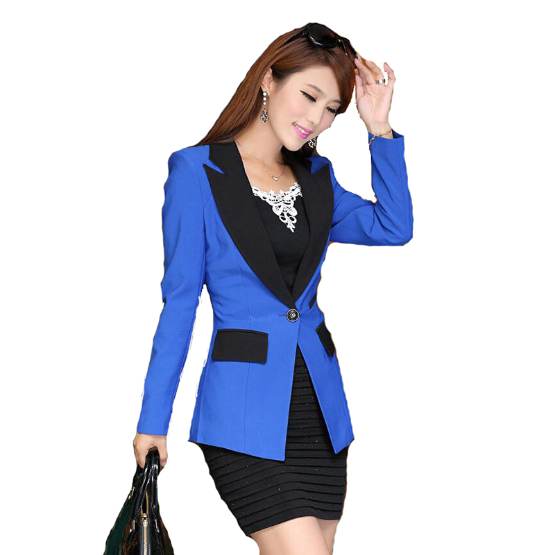 2017 Autumn Patchwork Women Blazer Fashion Single Button Casual Office Blazer For Women Long Sleeve Ladies Coat