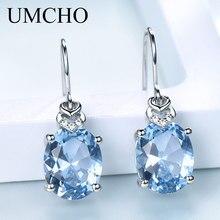 UMCHO Nano Blue Topaz, Серьги с драгоценными камнями для женщин, 925 пробы, серебряные, корейские серьги-капли, модные, вечерние, ювелирные изделия, Новинка