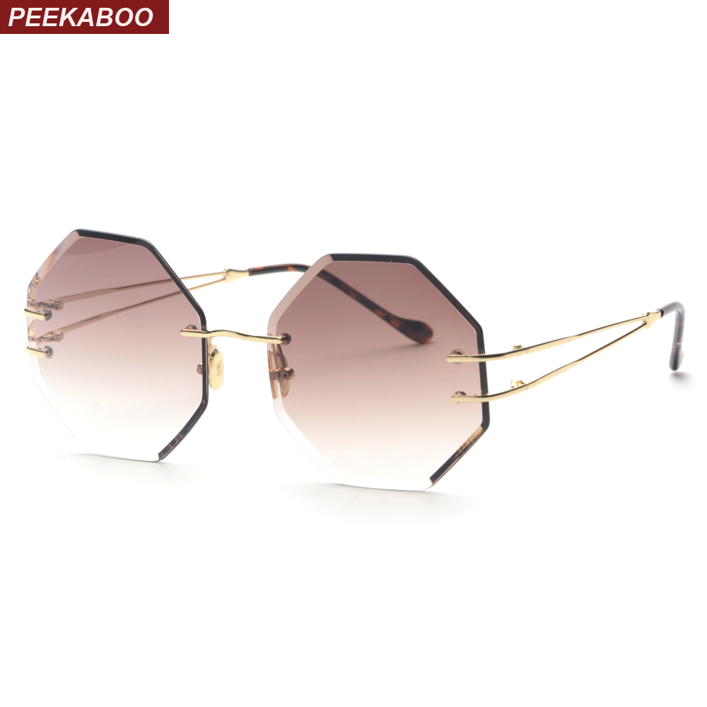 Peekaboo octagon sunglasses women rimless brown gray candy color gradient lens round sun glasses for ladies summer gift