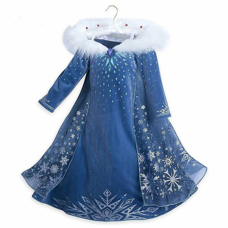 2020 New Elsa Dress Girls Party Vestidos Cosplay Girl Clothing Anna Snow Queen Print Birthday Princess Dress Kids Costume