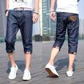 Летние тонкие мужские одежда джинсовые шорты прямой мужской свободного покроя капри длиной до колен тонкий капри брюки мужские