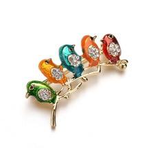 Fashion Five Birds Pin Brooches Womens Sexy Small Cute Enamel Brooch Jewelry Handmade Animal Baby Bird Metal Badge Broches