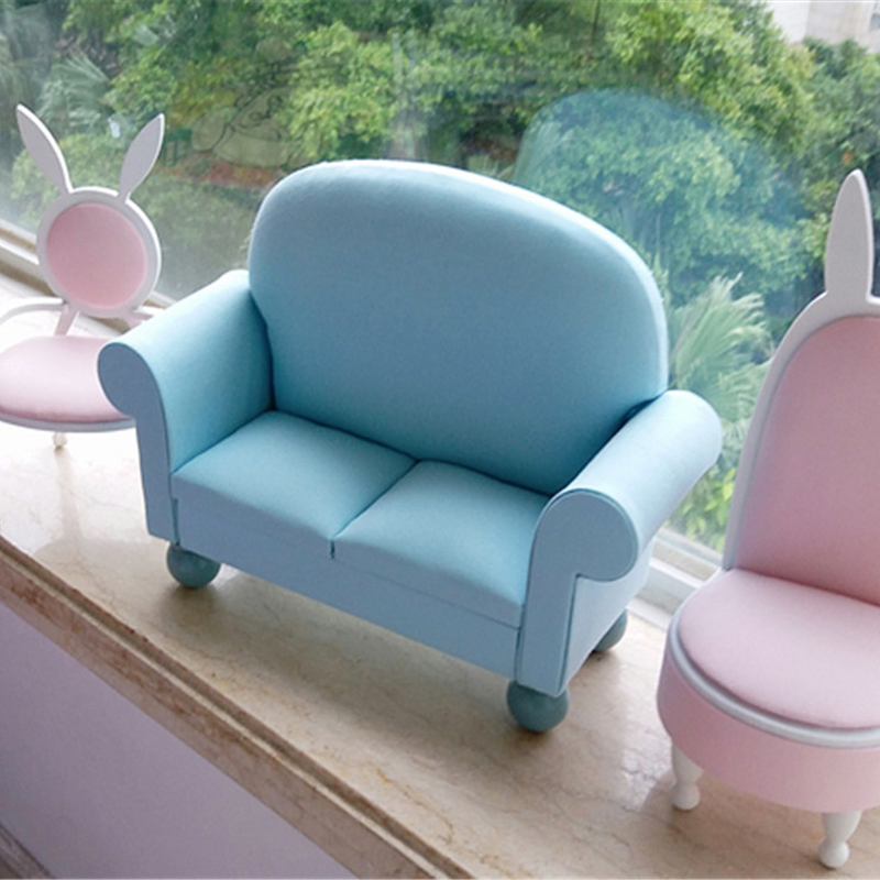 1/6 dollhouse Furniture toy for dolls Miniature double Sofa kawaii Mini doll accessories pretend play toys children girls gifts cutebee pretend play furniture toys wooden dollhouse furniture miniature toy set doll house toys for children kids toy