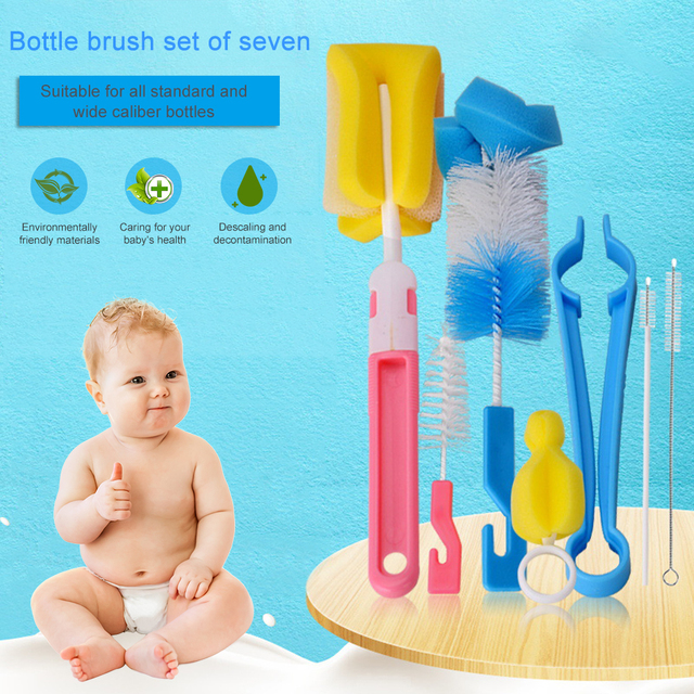 7Pcs Set Baby Bottle Brushes Brush 360-degree Rotating Head Cleaning Sponge Cup Brush Kit For Baby Bottle