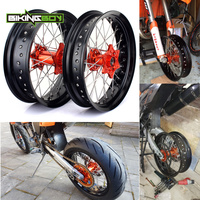 BIKINGBOY 17 x3.5 17X 5.0 Supermoto MX Full Set Front Rear Wheel Rim Orange Hub 36 Spokes For KTM EXC F 350 EXC F350 2016 16