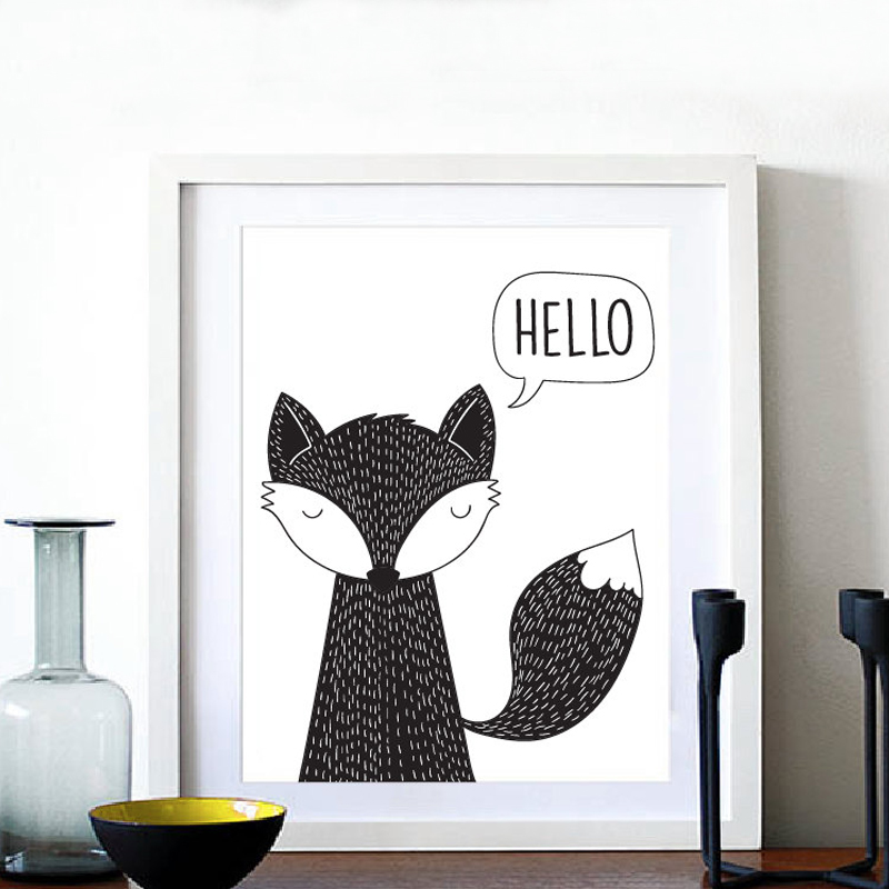 Hello Fox Art Print Canvas Paintings Animals Poster Modern Nursery Oil Wall Art Fox Kids Room