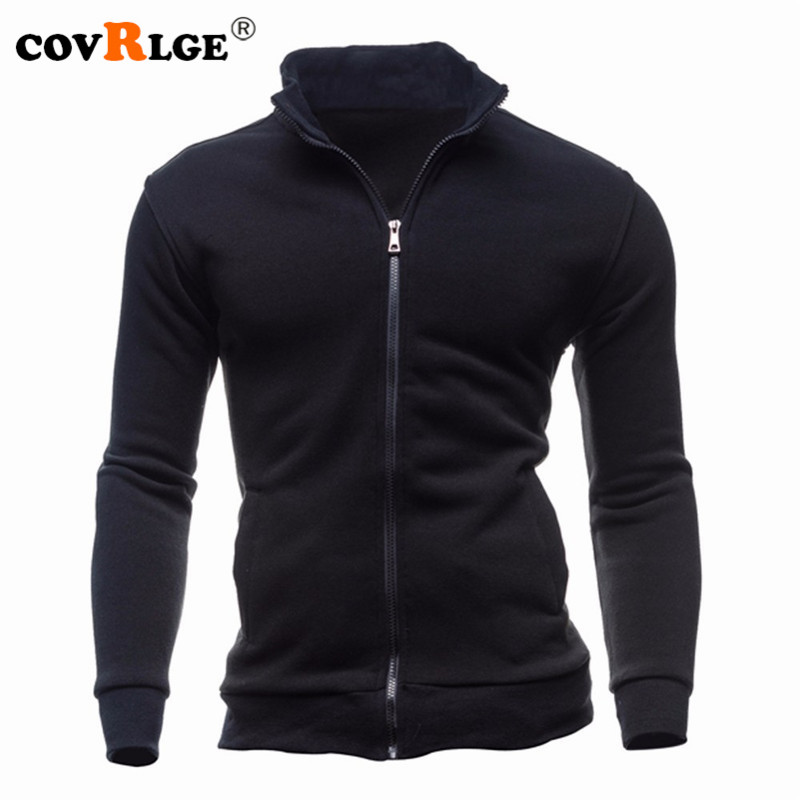 Covrlge Men Hoodies Jacket Fashion Fleece Stand Collar Zipper Sweatshirt Spring Solid Pocket Pullover Male Coat Tracksuit MWW150
