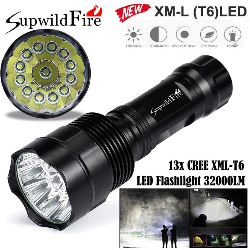 Super Bright 32000Lm 13x CREE XML T6 LED 5Mode 18650 Flashlight Torch Light Lamp 170509 фонарик cree xml t6 18650 super light