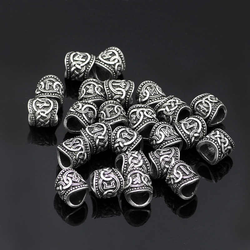 P1856 Dongmanli 24pcs Viking Runes Beads Charms Beads Findings For Bracelets For Pendant Necklace Beard Or Hair Vikings Rune Kit