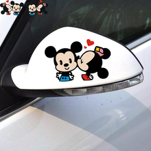 2 x Car-styling Cute Cartoon Car Rearview Sticker Mickey Minnie Kiss decal for Motorcycle Vw Polo Skoda Golf Bmw E46 Ford Opel