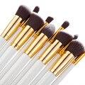 10 ШТ. макияж кисти для лица косметика для глаз белый и черный ручка макияж кисти профессиональный набор