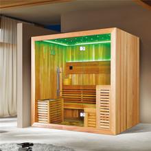 Cedr kanadyjski solidne drewniane sucha para masaż funkcjonalne dom Sauna (M-6045) tanie tanio Pokoje sauny Z pawęży okna 4 osób Z litego drewna Haisland Canadian cedar