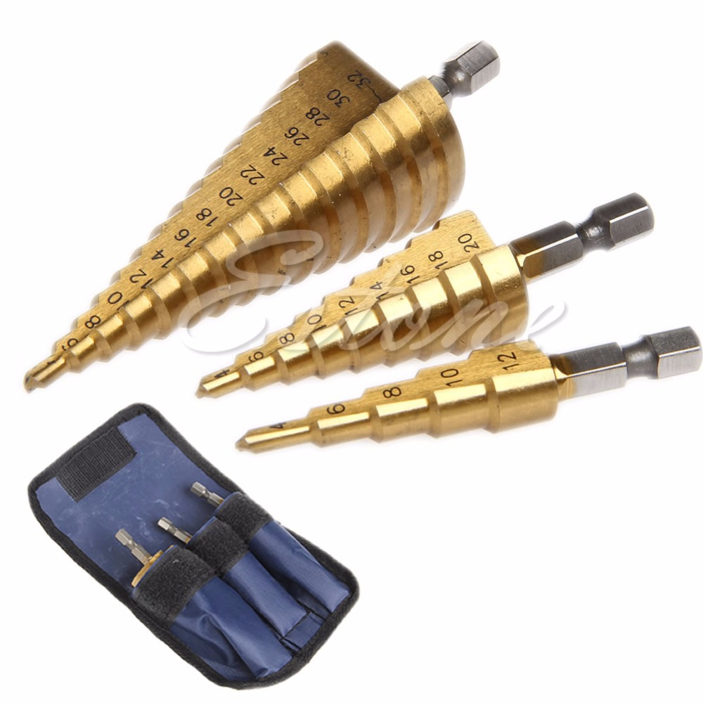 High quality New 3Pc Set Steel Titanium Nitride Coated Step Drill Bit Quick Change 1/4 Shank g 3pcs set quick change hex shank larger titanium coated m2 tool step drill bit set 71960 t