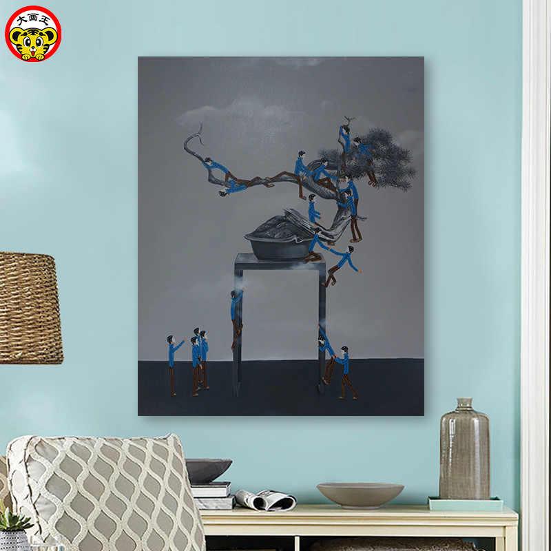 Diy Цифровая масляная краска ing Little Blue Man скандинавские иллюстраторы простая ручная краска ed масляная краска ed декоративная краска in