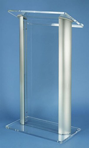"Fixture Displays 47"" Clear Acrylic Podium for Floor with Silver Aluminum Sides"