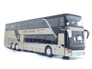 Image 4 - Sale High quality 1:32 alloy pull back bus model,high imitation Double sightseeing bus,flash toy vehicle, free shipping