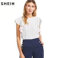 SHEIN Ruffle Sleeve Blouses Women White O Neck Elegant Summer Tops 2017 New Fashion Slim OL