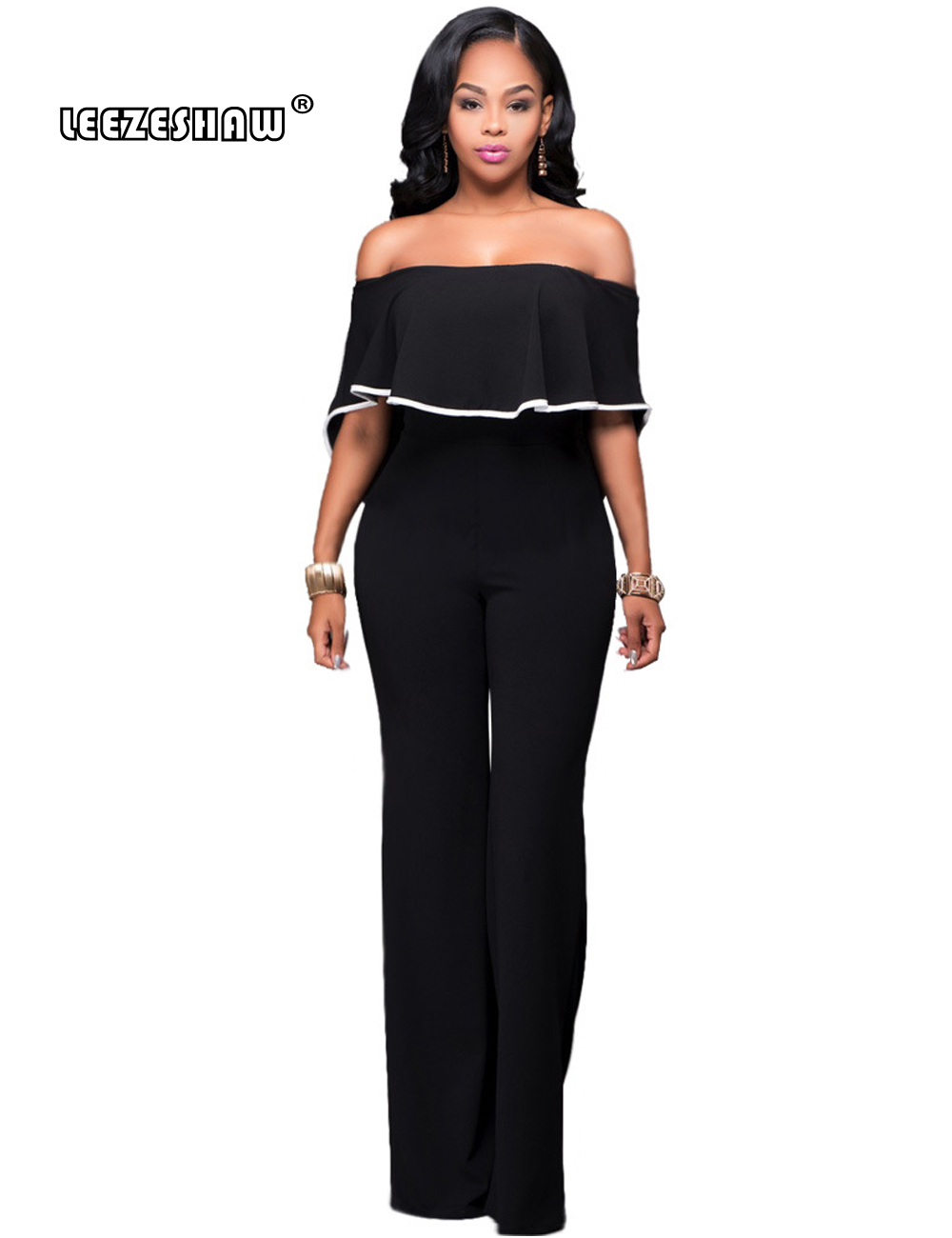 Leezeshaw Slash Neck Plus Size Women Loose Elegant Work Rompers Full Length Overalls Sexy New Fashion Casual Cape Jumpsuits