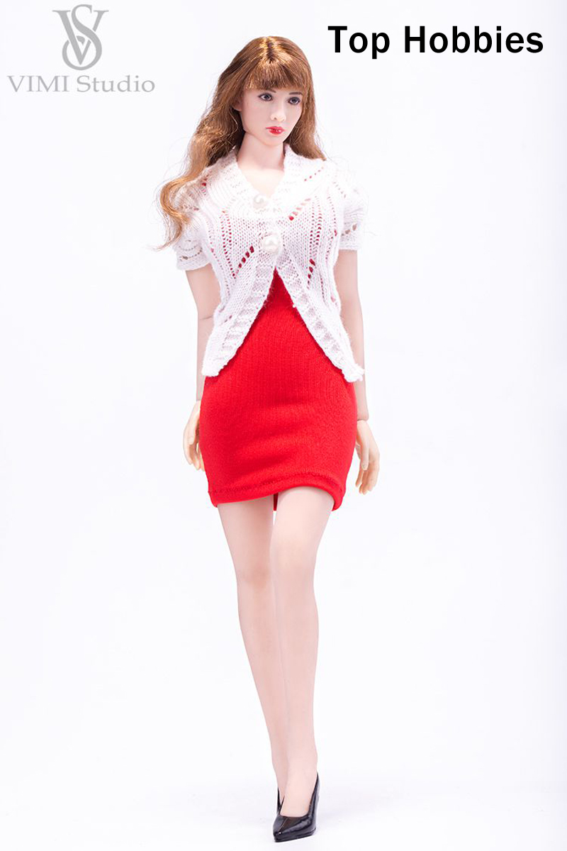 Red VIMI 1/6 Female Slim Tight Skirt Openwork Sweater Clothes Set Fit/12 Phicen/VERYCOOL/TTL/Jodoll/Toys Body Doll VS039C
