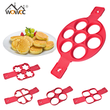 WOWCC Fried Egg Pancake Maker Mold Silicone Forms Non stick Simple Operation Pancake Omelette Round Mold