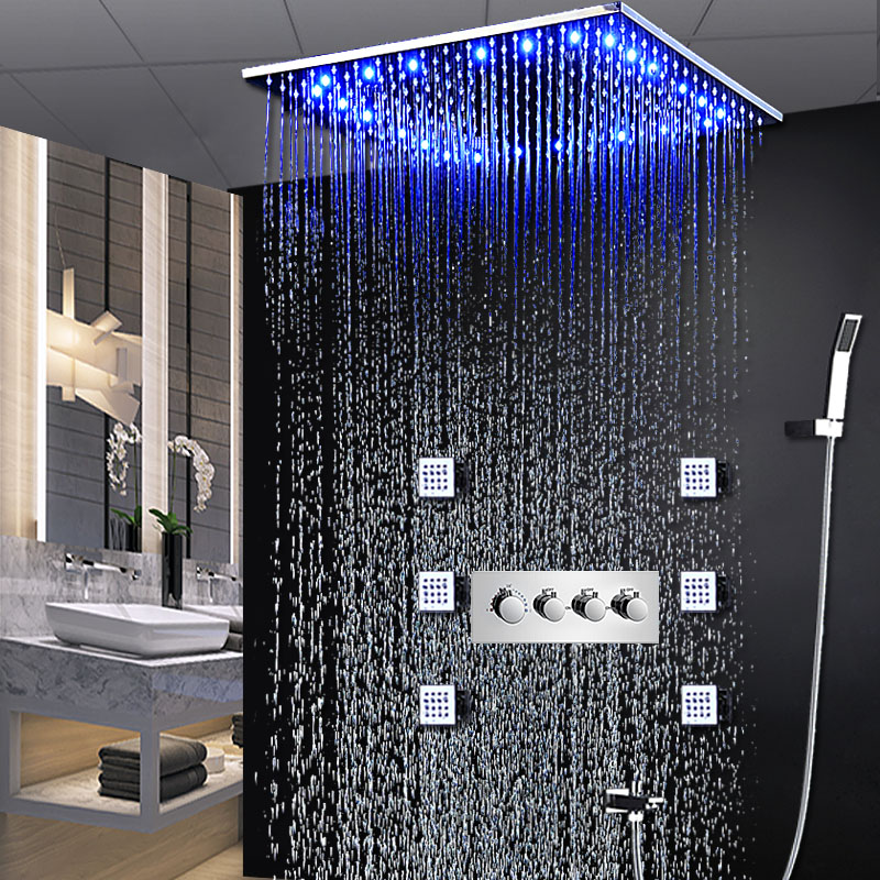 Us 835 38 49 Off Modern Hot And Cold Shower Faucet Sets 20 Inch Ceiling Rainfall System Luxury Rgb Led Light Body Jets Mages 2 In
