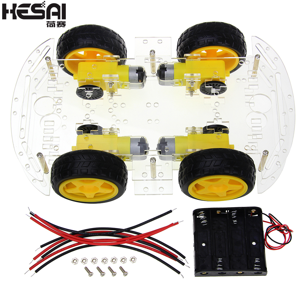 Smart Car Kit 4WD Smart Robot Car Chassis Kits with Speed Encoder and Battery Box for arduino Diy Kit