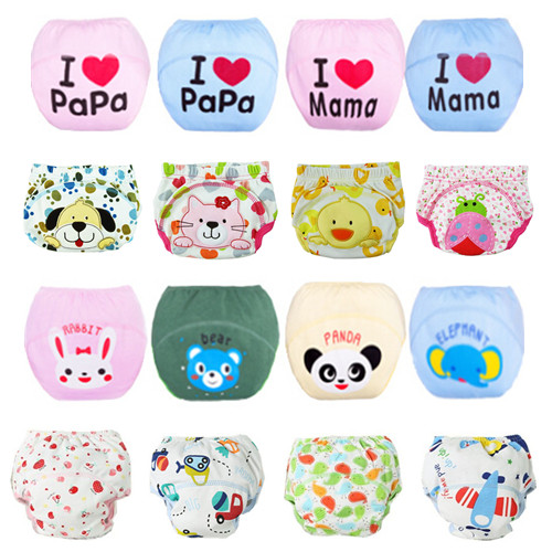10pcs Lot Baby Diapers Children Underwear Reusable Diaper Cover Infant Animals Potty Washable Training Pants 27 Designs QD05