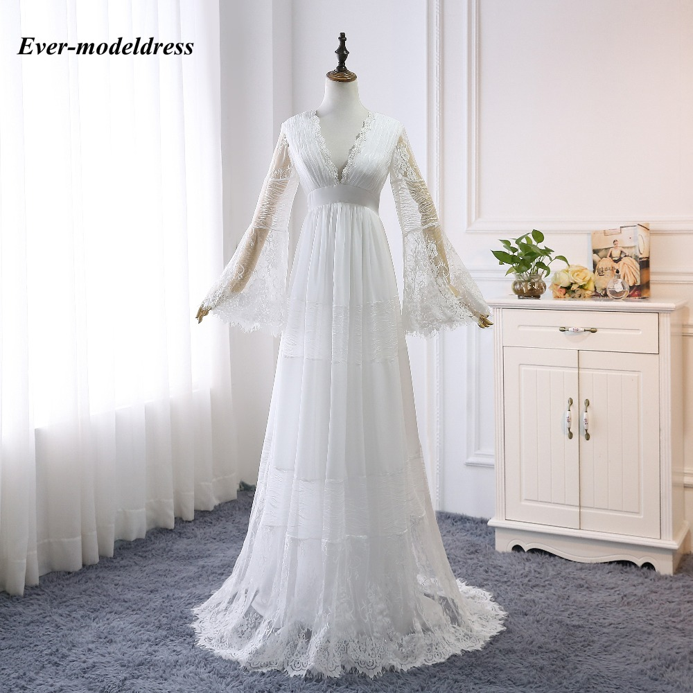 Image 4 - 2019 Lace Boho Wedding Dresses Long Sleeves A Line Backless Sweep Train Pleats Beach Bridal Gowns Bride Dress Vestido de noiva-in Wedding Dresses from Weddings & Events