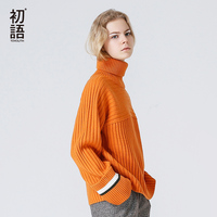 Toyouth Orange Color Sweaters Autumn Winter Women Vintage Contrast Color Fashion Loose Turtleneck Knitted Pullover Black