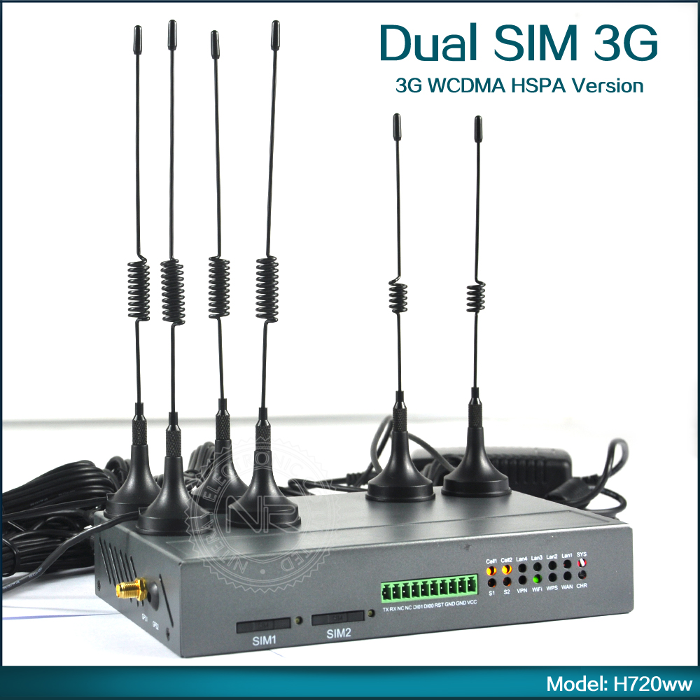 H720 Industrial Wireless 3G Dual SIM Router SIM Slot Two Modem WCDMA CDMA WiFi Router OEM Available ( Model: H720ww ) free shipping support load balance dual sim 3g router for industrial m2m application