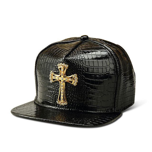 Style Pattern Panel Cross Snapback Baseball Cap Women PU Leather Hiphop Flat Gorras Street Diamond Jesus Casquette Baseball Cap