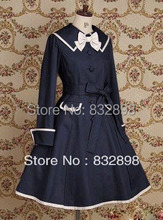 Deep Blue Cotton Sailor Lolita Dress Girls Winter Coats Brand Long Winter Coat