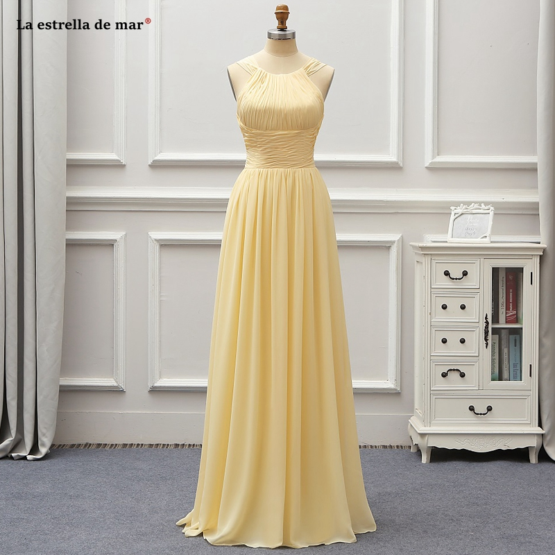 Vestido madrinha2019 new chiffon Scoop neck backless A Line beach style champagne   bridesmaid     dress   long wedding guest gown