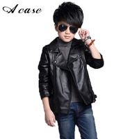 Teenager Baby Boys Leather Jacket Boys Casual Black Solid Children Outerwear Kids Girls Coats Spring Leather
