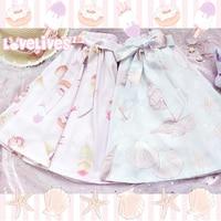 Japanese Style Sweet Lolita Girls Short Skirt ice cream Shell Print Young Girl Bestie Skirt Spring Summer 3 Color