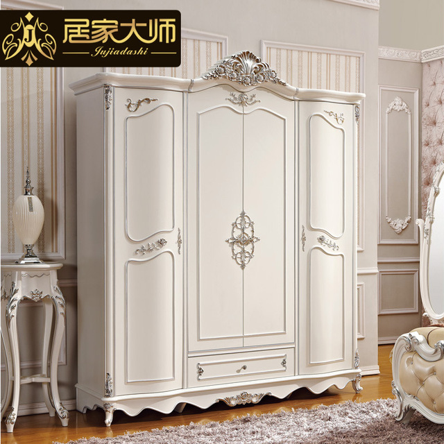 French Style Bedroom Furniture Wood Combinations White Wardrobe Cabinet  Closet Storage Armoire W2