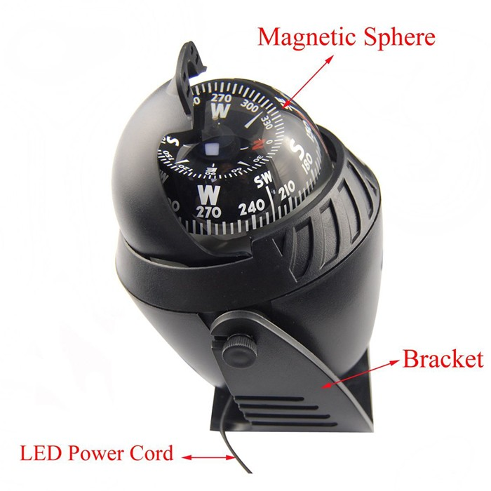 Marine Hardware 10x9cm Black Abs Macromolecule Plastic Led Light Digital Compass Magnetic Sphere Marine Military Electronic Boat Car Compass Automobiles & Motorcycles